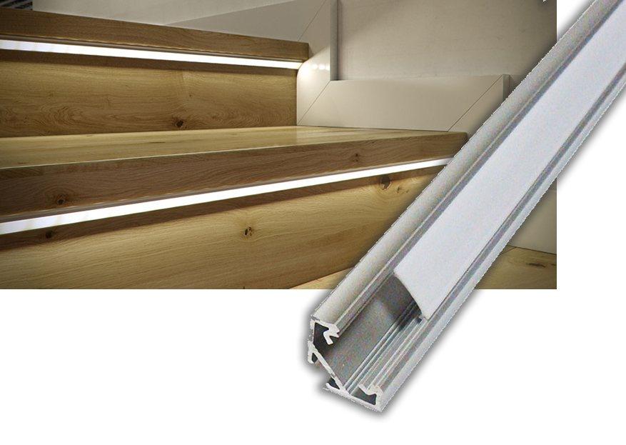 Stufenbeleuchtung-LED-45-Profil-1m-mit-opaler-Abdeckung
