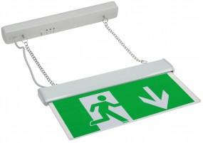 LED Fluchtwegleuchte mit 30cm Kette für die Deckenmontage