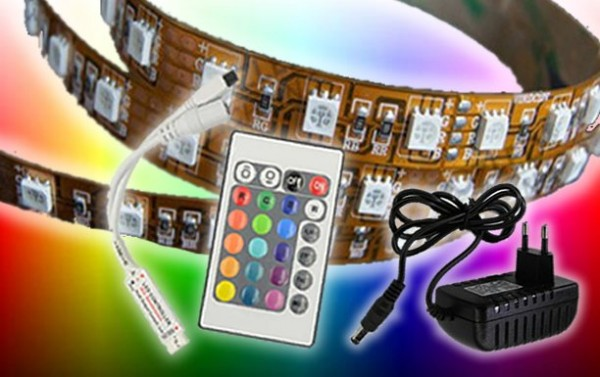 RGB LED Strip Komplettset 2,5m IP20 - 300 SMD 5050 kupfer