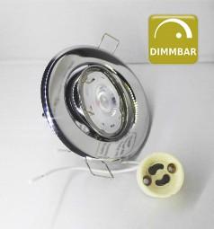 Dimmbarer LED Einbaustrahler Chrom schwenkbar mit 7W GU10 Leuchtmittel und Fassung 230V