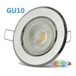 LED Einbaustrahler Chrom schwenkbar mit 4W GU10 Leuchtmittel und Fassung 230V
