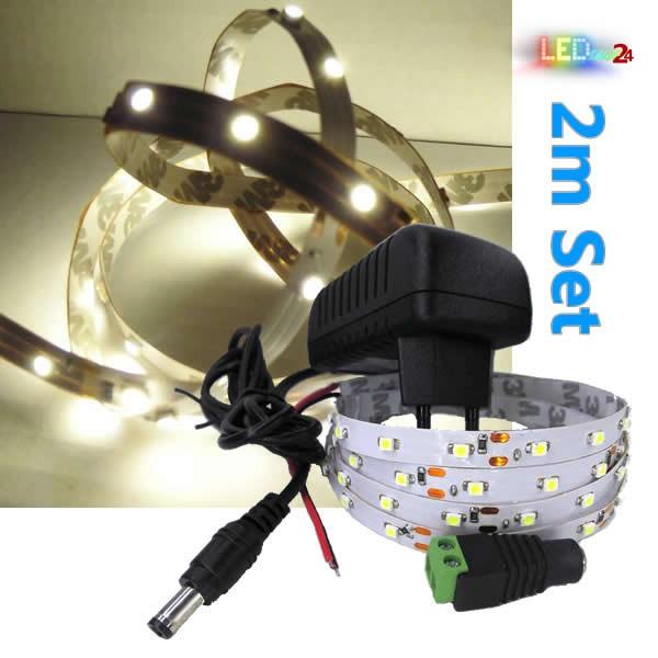 LED Streifen Komplettset 2m - 60 SMDs - 2835 - einfarbig WARMWEIß
