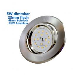 23mm Flacher LED Einbaustrahler 5W dimmbar 400lm 68mm 230V