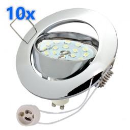 10x LED Einbaustrahler Set chrom 3W GU10 Leuchtmittel 230V