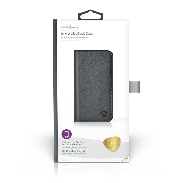 Weiches Bookcase mit Portemonnaie für Apple iPhone 6 / 6s | Schwarz