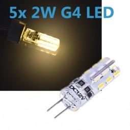 5x G4 LED 2W 12V Leuchtmittel warmweiß (Spot, Strahler, Halogen)