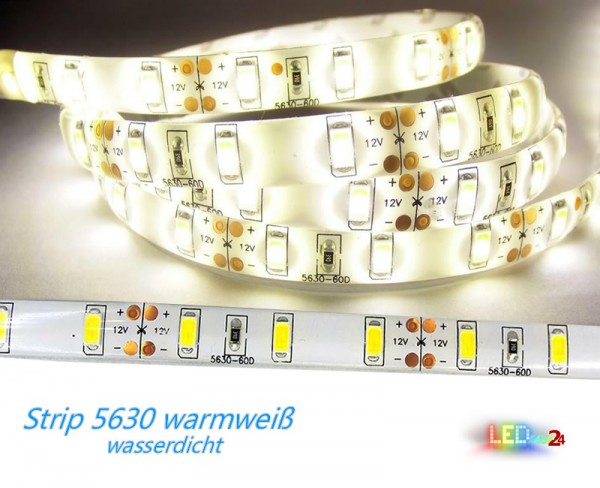 5m flex LED Strip 5630 WARMWEIß wasserdicht IP65