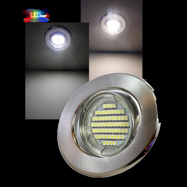 LED Einbaustrahler Edelstahl gebürstet schwenkbar mit 5W GU10 Leuchtmittel und Fassung 230V
