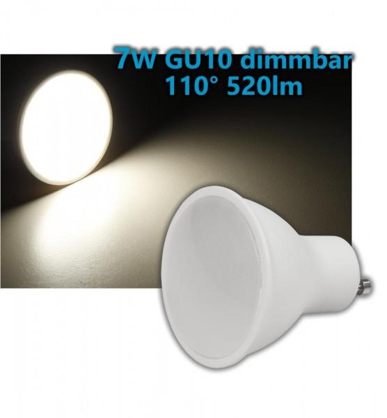 Dimmbares 7W GU10 LED Leuchtmittel warmweiß 110° 520lm 3000K 50mm 230V