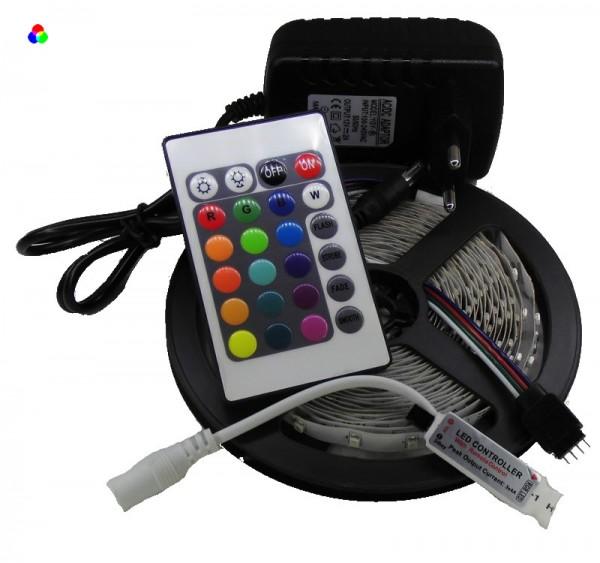 RGB LED Strip Komplettset 5m - 300/150 SMDs - mini Controller