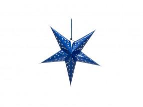 EUROPALMS Stern Laterne, Papier, blau, 40 cm