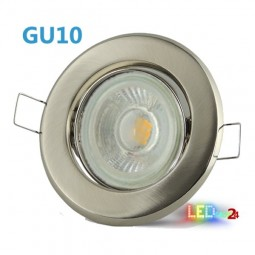 LED Einbaustrahler Edelstahl gebürstet schwenkbar mit 5W COB GU10 Leuchtmittel und Fassung 230V