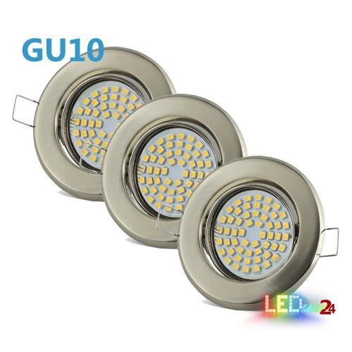 LED Einbaustrahler Set Edelstahl gebürstet schwenkbar mit 5W GU10 Leuchtmittel und Fassung 230V