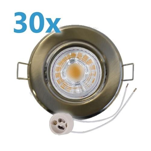 30x LED Einbaustrahler Set Edelstahl gebürstet schwenkbar mit 4W GU10 Leuchtmittel und Fassung 230V