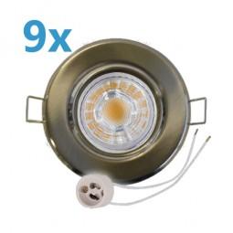 9x LED Einbaustrahler Set Edelstahl gebürstet schwenkbar mit 5W GU10 Leuchtmittel und Fassung 230V