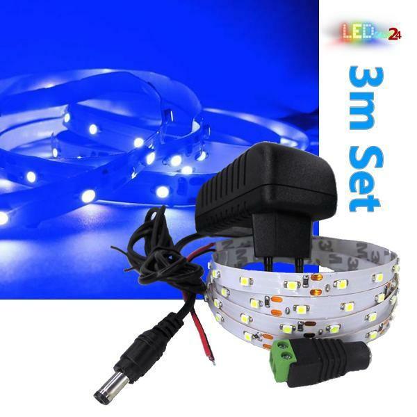 LED Streifen Komplettset 3m - 60 SMDs - 3528 - einfarbig BLAU