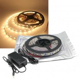 5m LED Strip Set SMD 5050 Warmweiß IP20 für Innen mit Netzteil 12V 60 LED/m