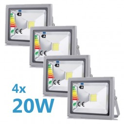 4x LED Fluter 20W 230V COB High Power Strahler IP65
