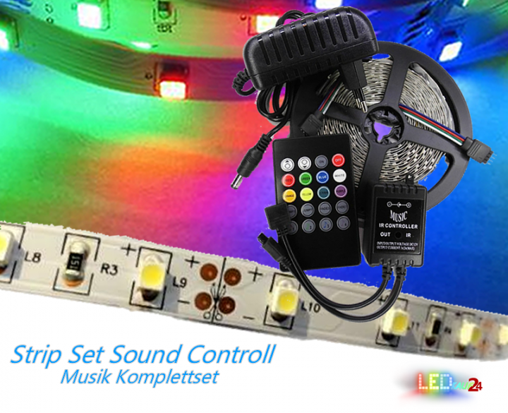 led strip komplettset sound controll inkl rgb strip 5m netzteil und controller. Black Bedroom Furniture Sets. Home Design Ideas