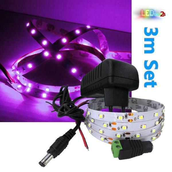 LED Streifen Komplettset 3m - 60 SMDs - 3528 - einfarbig PINK