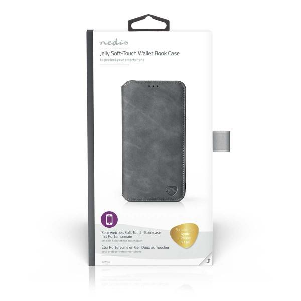 Soft Touch-Bookcase mit Portemonnaie für Apple iPhone 6 / 6s | Schwarz