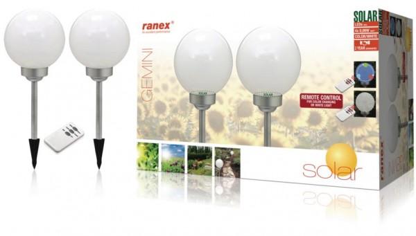 Ranex 2x RGBW LED Solar-Gartenleuchte mit Fernbedienung Gemini IP44