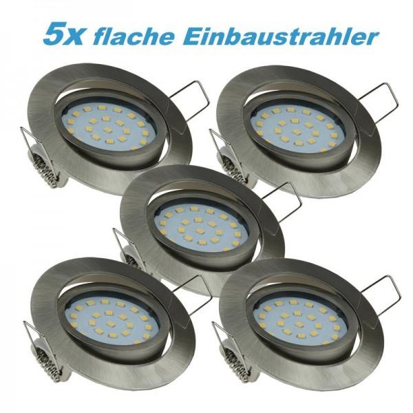 "5x LED Einbaustrahler Set ""Flat-32"" warmweiß 5W Edelstahl gebürstet"