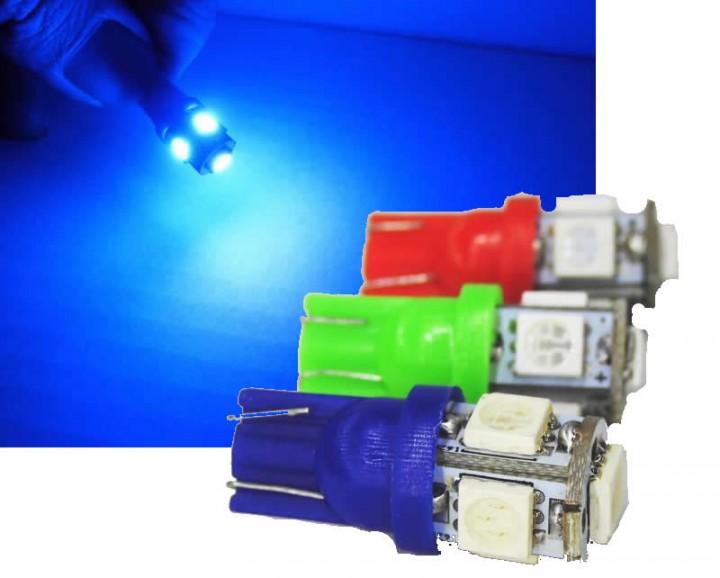 kfz led t10 standlicht w5w 1w 5 x 5050 smd 12v auto licht rot blau gr n led. Black Bedroom Furniture Sets. Home Design Ideas