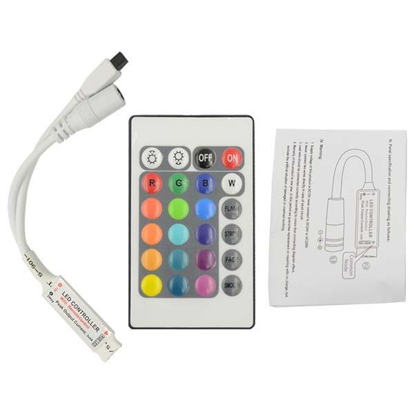 Mini RGB Controller und Dimmer mit 24 Tasten Fernbedienung 12V 12A IR lang