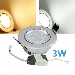 LED Einbaustrahler dimmbar 3W inkl. Trafo 230V Chrom Spot
