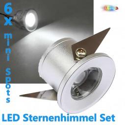 6x LED Einbaustrahler 1W KALTWEIß inkl. Trafo Sternenhimmel Set