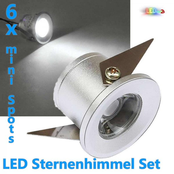 6x led sternenhimmel spot 1w kaltwei inkl trafo 230v aluminium chrom einbaustrahler. Black Bedroom Furniture Sets. Home Design Ideas