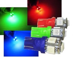 KFZ LED T10 Standlicht W5W 1w 5 x 5050 SMD 12V Auto Licht ROT BLAU GRÜN
