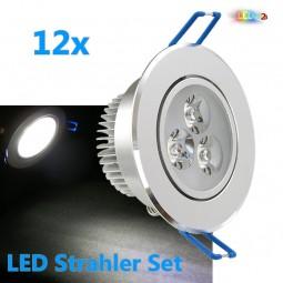 12x LED Einbaustrahler Set 3W KALTWEIß / WARMWEIß inkl. Trafo Aluminium
