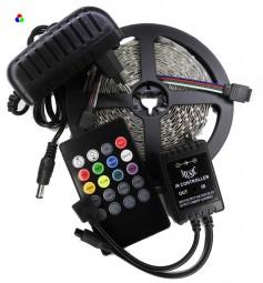 LED Strip Komplettset Sound Controll inkl. RGB Strip 5m, Netzteil und Controller
