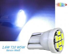 LED T10 Standlicht W5W 8 SMD 3020 Xenon Weiß