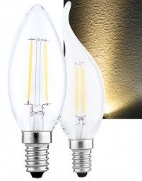 LED E14 Filament 2W 4W Leuchtmittel Windstoß kerzenform warmweiß Flamme COB