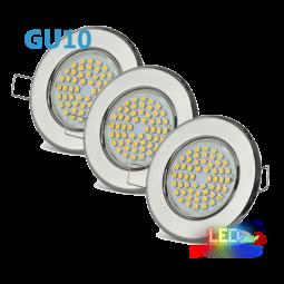 LED Einbaustrahler Set Chrom schwenkbar mit 3W GU10 Leuchtmittel und Fassung 230V