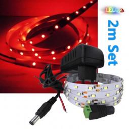 LED Streifen Komplettset 2m - 60 SMDs - 3528 - einfarbig ROT