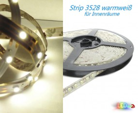 LED Strip WARMWEIß 12V 60 LED/m IP20 Wunschlänge