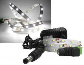 LED Strip Komplettset 1m - 60 SMDs - 3528 - einfarbig KALTWEIß