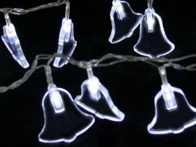 LED Lichterkette Glöckchen 6,5m mit 40 Lichtern rot oder weiß